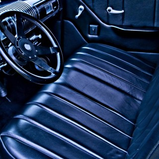 Navy Leather Auto Interior