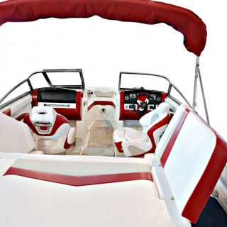 Custom Red & White Boat Interior